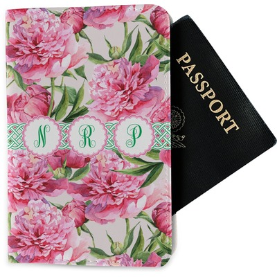 Watercolor Peonies Passport Holder - Fabric (Personalized)