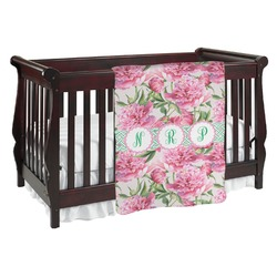 Watercolor Peonies Baby Blanket (Personalized)