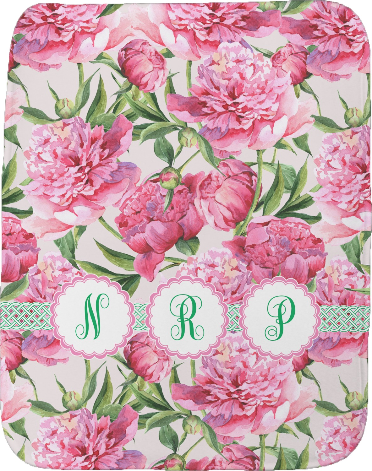 Watercolor Peonies Burp Cloth Personalized Youcustomizeit