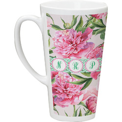 Watercolor Peonies Latte Mug (Personalized)