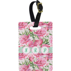 Watercolor Peonies Rectangular Luggage Tag (Personalized)