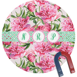 Watercolor Peonies Round Magnet (Personalized)