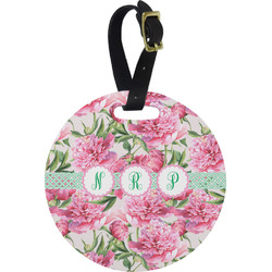 Watercolor Peonies Round Luggage Tag (Personalized)