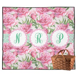 Watercolor Peonies Outdoor Picnic Blanket (Personalized)