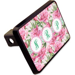 "Watercolor Peonies Rectangular Trailer Hitch Cover - 2"" (Personalized)"
