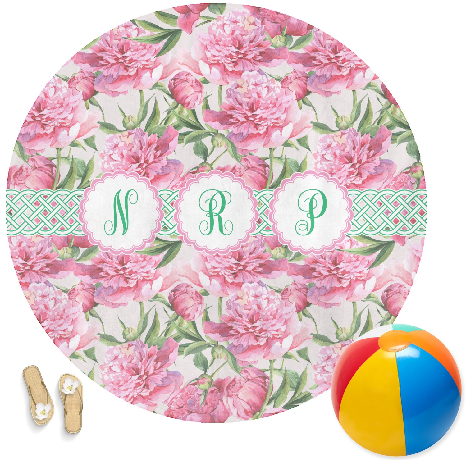 Watercolor Peonies Round Beach Towel Personalized