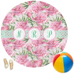 Watercolor Peonies Round Beach Towel (Personalized)