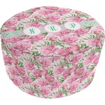 Watercolor Peonies Round Pouf Ottoman (Personalized)