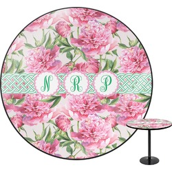 Watercolor Peonies Round Table (Personalized)