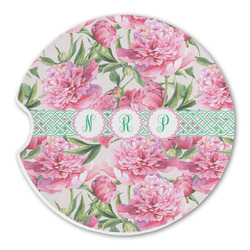 Watercolor Peonies Sandstone Car Coasters (Personalized)