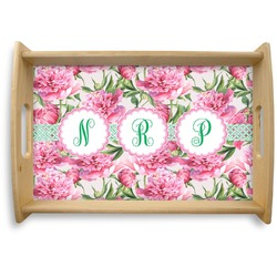 Watercolor Peonies Natural Wooden Tray (Personalized)