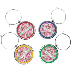 Watercolor Peonies Wine Charms (Set of 4) (Personalized)