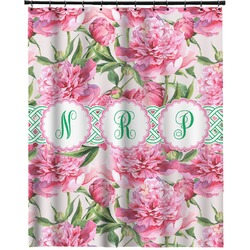 """Watercolor Peonies Extra Long Shower Curtain - 70""""x84"""" (Personalized)"""