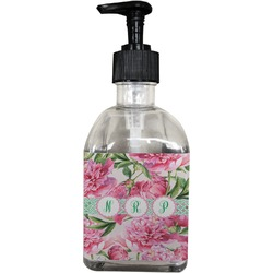 Watercolor Peonies Soap/Lotion Dispenser (Glass) (Personalized)