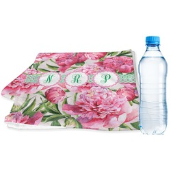 Watercolor Peonies Sports Towel (Personalized)