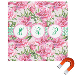 Watercolor Peonies Square Car Magnet (Personalized)