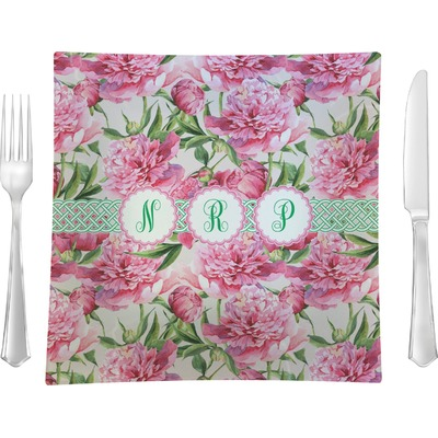 """Watercolor Peonies 9.5"""" Glass Square Lunch / Dinner Plate- Single or Set of 4 (Personalized)"""