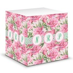 Watercolor Peonies Sticky Note Cube (Personalized)