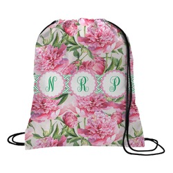 Watercolor Peonies Drawstring Backpack (Personalized)
