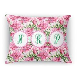 "Watercolor Peonies Rectangular Throw Pillow - 18""x24"" (Personalized)"