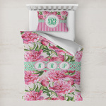 Watercolor Peonies Toddler Bedding w/ Multiple Names