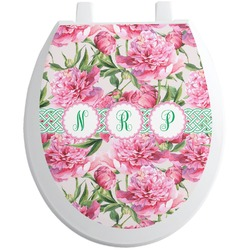 Watercolor Peonies Toilet Seat Decal (Personalized)