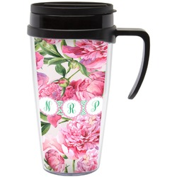 Watercolor Peonies Travel Mug with Handle (Personalized)