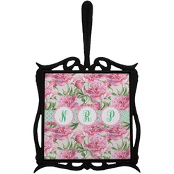 Watercolor Peonies Trivet with Handle (Personalized)