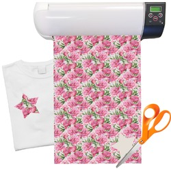 "Watercolor Peonies Heat Transfer Vinyl Sheet (12""x18"")"