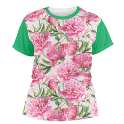 Watercolor Peonies Women's Crew T-Shirt (Personalized)