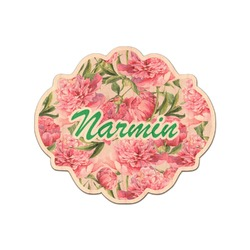 Watercolor Peonies Genuine Maple or Cherry Wood Sticker (Personalized)