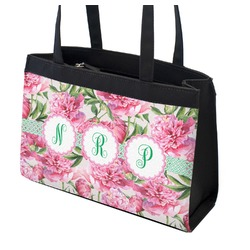 Watercolor Peonies Zippered Everyday Tote (Personalized)