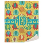 Cute Elephants Sherpa Throw Blanket (Personalized)