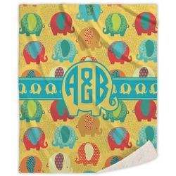 Cute Elephants Sherpa Throw Blanket (Personalized)