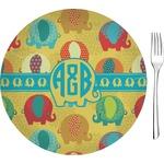 "Cute Elephants Glass Appetizer / Dessert Plates 8"" - Single or Set (Personalized)"