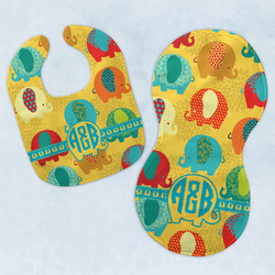 Cute Elephants Baby Bib & Burp Set w/ Couple's Names