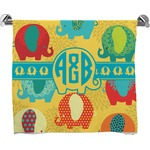 Cute Elephants Full Print Bath Towel (Personalized)
