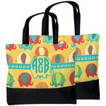 Cute Elephants Beach Tote Bag (Personalized)