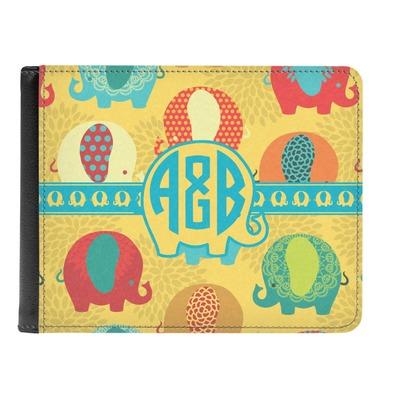 Cute Elephants Genuine Leather Men's Bi-fold Wallet (Personalized)