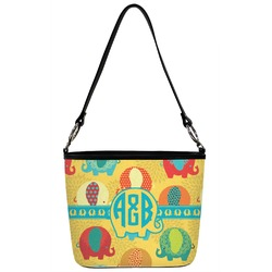 Cute Elephants Bucket Bag w/ Genuine Leather Trim (Personalized)