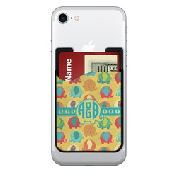 Cute Elephants 2-in-1 Cell Phone Credit Card Holder & Screen Cleaner (Personalized)