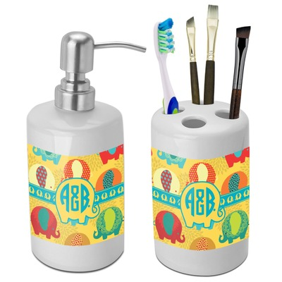 Cute Elephants Bathroom Accessories Set (Ceramic) (Personalized)