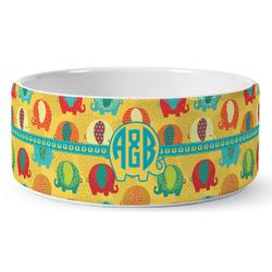 Cute Elephants Ceramic Dog Bowl (Personalized)