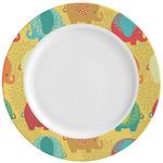 Cute Elephants Ceramic Dinner Plates (Set of 4) (Personalized)