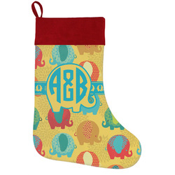 Cute Elephants Holiday Stocking w/ Couple's Names