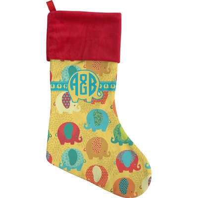 Cute Elephants Christmas Stocking (Personalized)