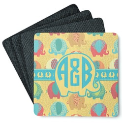 Cute Elephants 4 Square Coasters - Rubber Backed (Personalized)