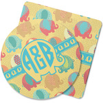 Cute Elephants Rubber Backed Coaster (Personalized)