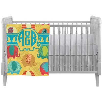 Cute Elephants Crib Comforter / Quilt (Personalized)