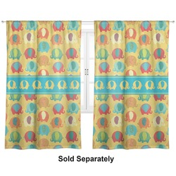 "Cute Elephants Curtains - 20""x84"" Panels - Lined (2 Panels Per Set) (Personalized)"